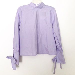 Topshop Blue Tie Back & Sleeve High Neck Blouse